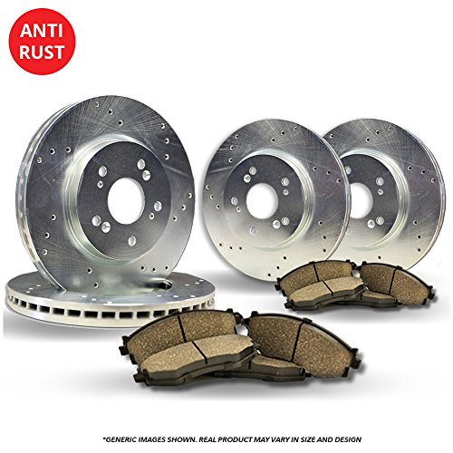 (Front+Rear Kit)(High-End) 4 Silver Coated Cross-Drilled Disc Brake Rotors + 8 Ceramic Pads(Fits:- BMW)(5lug)