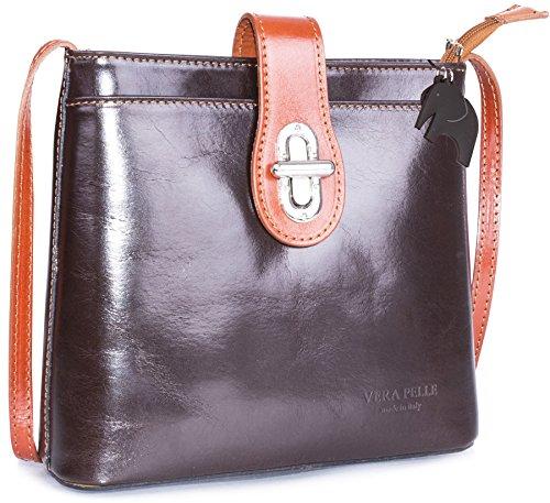 Big Handbag Shop Mujer Bolso bandolera Coffee - Tan Trim (BR483)