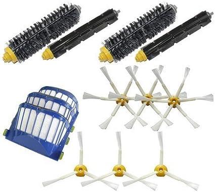 3 Aero Vac Filtros y 3 de 3 620 630 650 660 680 3 Armado 6-Armada de reemplazo cepillos laterales y 2 cepillos de cerdas y 2 flexible batidor Cepillos Paquete Mega Kit para Robot serie 600 LOVE TM de vacio robots de limpieza