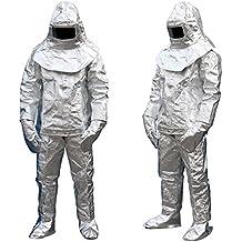 Hukoer Aluminum Foil 1000 Degree heatproof radiation proof inflaming retarding suit Full set (Coat,Pant,Helmet,Glove,Boot Cover,EC/CCS Approval)