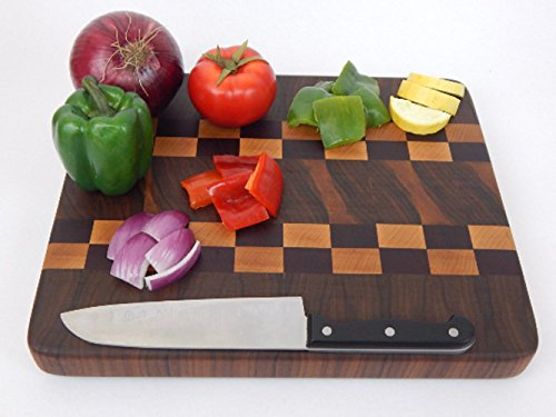 Handcrafted Wood Cutting Board - End Grain - Walnut, Maple, and Purpleheart