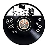 Hello Kitty Vinyl Record Wall Clock - Get unique Nursery room wall decor - Gift ideas for kids, teens, siblings – Fanny Unique Art