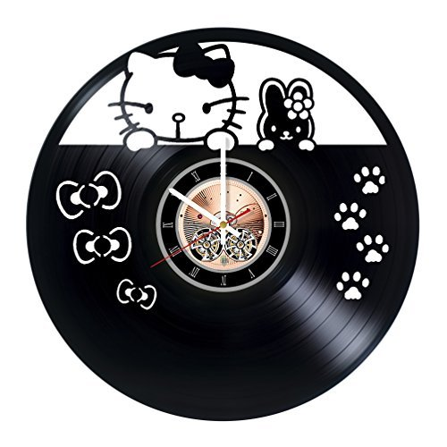 Hello Kitty Vinyl Record Wall Clock - Get unique Nursery room wall decor - Gift ideas for kids, teens, siblings – Fanny Unique Art by Sofa Style