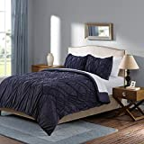 Navy Chevron Elastic Embroidery Boy Bedding Twin Size Cool comforter Set for Teen Whimsical Waves Comforter Set