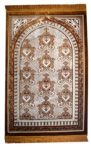 Interway Trading Prayer Rug Mat Carpet Permadani Permaidani Ramadan Eid Turkish Seccade Muslim Sajadah Namaz Janamaz Velvet Large Size (Brown) by Interway Trading