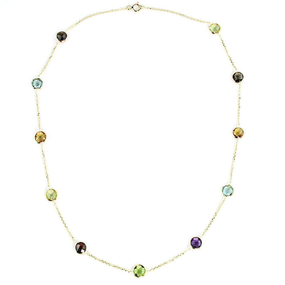 14K Yellow Gold Handmade Station Necklace With 6 MM Gemstones (16, 17, 18 and 20 Inches)