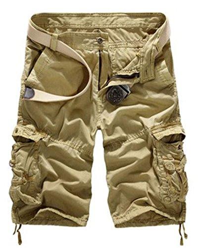 CFD Men's Casual Loose Fit Cargo Shorts, Multi-Pocket Cotton Outdoor Wear(No Belt) 1 38 (Belt Camoflauge)