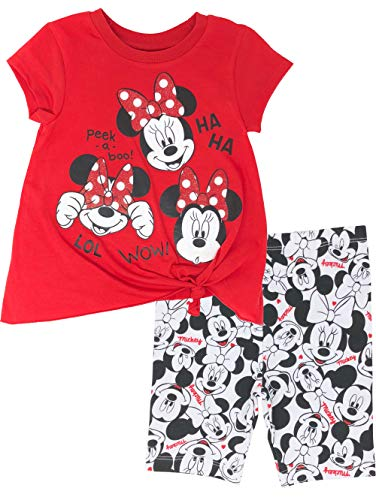 Disney Minnie Mouse Baby Infant Girls' High-Low T-Shirt & Bike Shorts Set (Peekaboo Red, 18 Months)