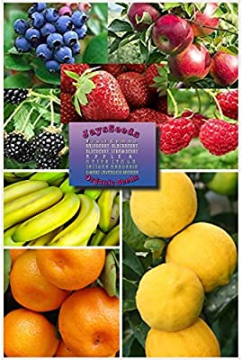 Fruit Combo Pack Raspberry, Blackberry, Blueberry, Strawberry, Apple (Organic) 565+ Seeds UPC 600188191011 + Free Meyer Lemon, Satsuma Mandarin & Dwarf Cavendish