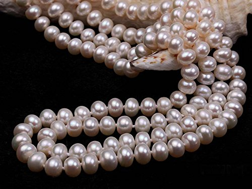 JYX Classic Double-row Flatly Round White Freshwater Cultured Pearl Necklace (7mm) by JYX Pearl (Image #4)