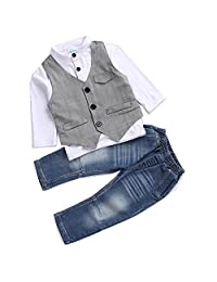 Cute Kids Boys Clothing Shirt and Vest Jeans clothes suit for 2 to 5 Age little Boy