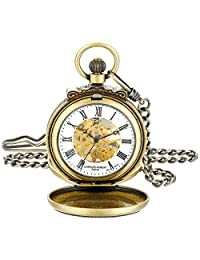 Charles-Hubert, Paris 3866-G Classic Collection Gold-Plated Antiqued Finish Double Hunter Case Mechanical Pocket Watch