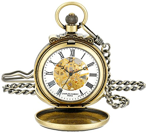 Charles-Hubert Paris 3866-G Classic Gold-Plated Antiqued Finish Mechanical Pocket Watch
