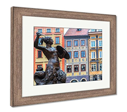 Ashley Framed Prints Mermaid in Warsaw, Wall Art Home Decoration, Color, 30x35 (Frame Size), Rustic Barn Wood Frame, AG5924746