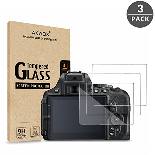 (Pack of 3) Nikon D5600 D5500 D5300 Tempered Glass Screen Protector, AKWOX [0.3mm 2.5D High Definition 9H] Optical LCD Premium Glass Protective (Premium Lcd Screen Protector)