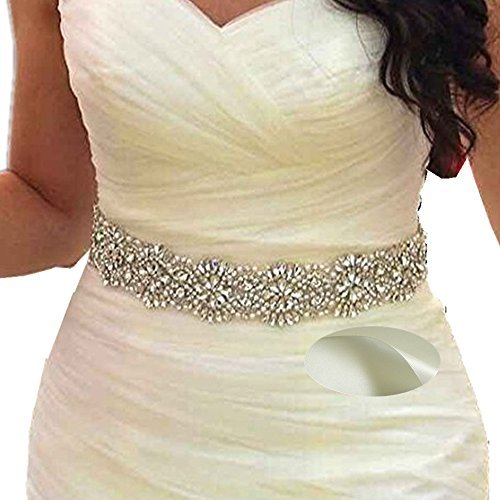 SoarDream Bridal Crystal Rhinestone Wedding Dress Sash Belt with Ivory -