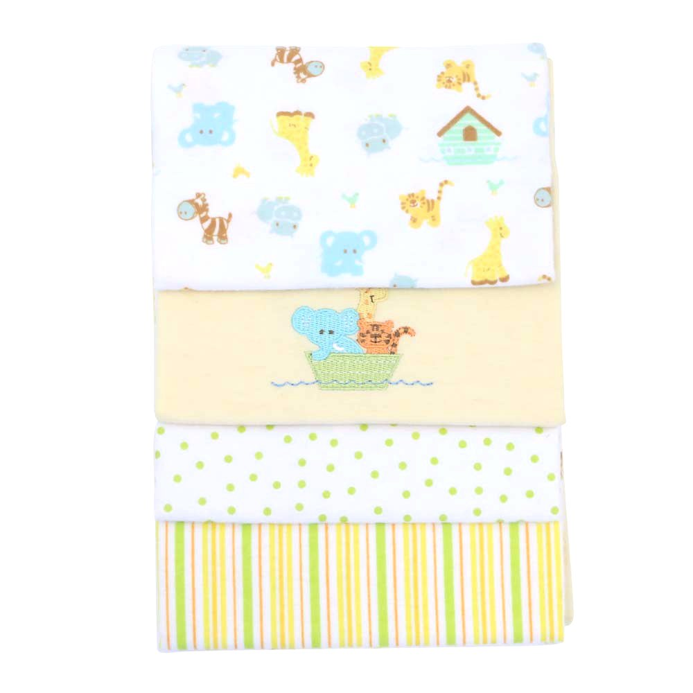 Spasilk Unisex Baby 4 Pack 100% Cotton Flannel Receiving Blanket Blue Elephant 30 Inchx30 Inch Layette Spasilk RB Z4PA4