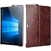 Surface Pro 4 Case,Icarercase Vintage Genuine Leather Back Cover with Pen Holder and Stand Function for Microsoft Surface Pro 4 12.3 Inch,Compatible with Surface Pro 4 Original Keyboard (Coffee)