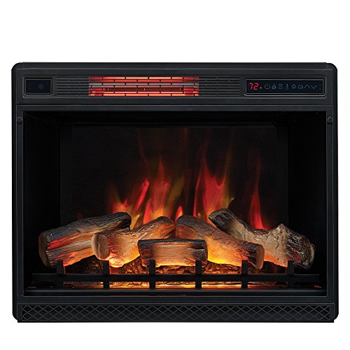 """Classic Flame 28"""" 3D Infrared Quartz Plug and Safer Sensor Electric Fireplace Insert"""