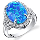 Created Blue Opal Designer Ring Sterling Silver 2.25 Carats Size 7