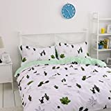 BuLuTu 3 Pieces Cotton Kids Bedding Duvet Cover Set Twin White Green Cactus Pattern Teen Bedding Collections Set For Boys Girls Zipper Closure,Gifts for Kids,Friends,Boyfriends,Family,Lover