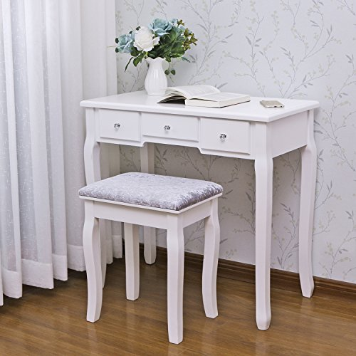 BEWISHOME Vanity Set with Mirror & Cushioned Stool Dressing Table Vanity Makeup Table 5 Drawers 2 Dividers Movable Organizers White FST01W
