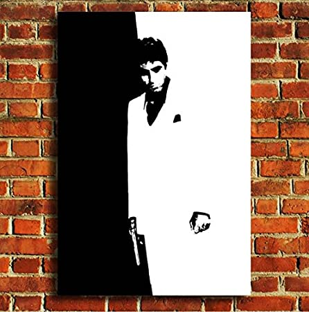 Scarface black and white Retro tv film movie canvas framed wall art ...