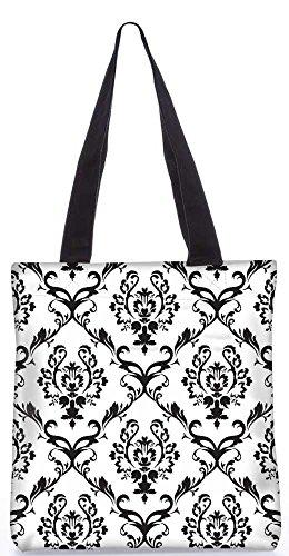 Snoogg Schwarzes Muster-Einkaufstasche 13,5 X 15 In Shopping-Dienstprogramm Tragetasche Aus Polyester Canvas