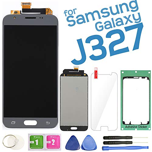 Samfix LCD Display Screen Replacement Touch Digitizer Assembly for Samsung Galaxy J3 J327 2017 Prime/Emerge J327A J327V J327P J327T1 J327R4 with Repair Tools & Screen Protector (Gray)