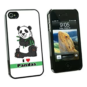 Graphics and More I Love Heart Pandas - Bear China Bamboo - Snap On Hard Protective Case for Apple iPhone 5 5s - Black - Carrying Case - Non-Retail Packaging - Black