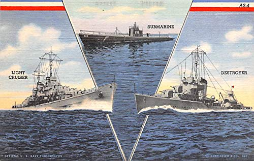 Military Battleship Postcard, Old Vintage Antique Military Ship Post Card Light Cruiser, Submarine, Destroyer Unused