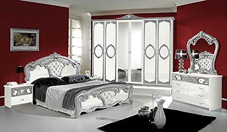 Camera da letto in stile classico REGINA bianca e argento: Amazon.it ...
