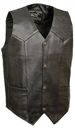 Event Biker Leather Men's Promo Grade Basic Leather Vest (Black, XXX-Large)