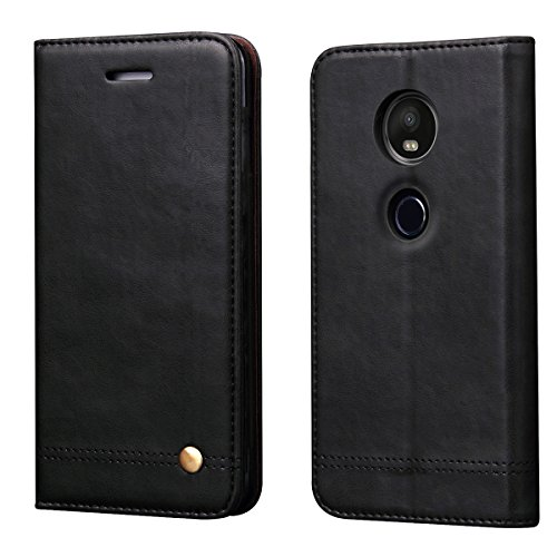 Moto E5 Plus Case, Moto E5 Supra Case,RUIHUI Luxury Leather Wallet Folding Flip Protective Case Cover with Card Slots,Kickstand and Magnetic Closure for Motorola Moto E Plus (5th Generation) (Black)