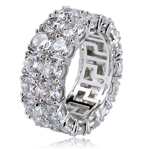 TOPGRILLZ 9mm 2 Rows 14K Gold and Silver Plated Iced out CZ Lab Diamond Eternity Wedding Engagement Band Ring ()