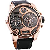 OULM Men's Three Time Display Digital Quartz Watch Leather Strap Rose Golden Luxury Case Formal Dress Japan Movement + Gift Box