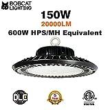 Bobcat LED High Bay Light,150W UFO High bay Lighting(600W HID/HPS Equivalent) 20,000 Lumens, Daylight White-5000K, IP65 Waterproof, Garage, Warehouse,DLC ETL Listed, 5-Year Warranty
