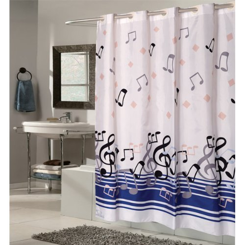 "108"" Extra Wide X 75"" Long Blue Note Ez-on Hookless Fabric Shower Curtain"
