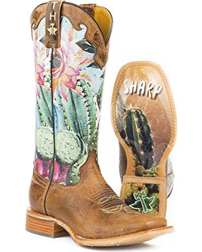 Ranch Wear Western - Tin Haul Shoes Women's CACTILICIOUS Western Boot Brown 9.5 Medium US