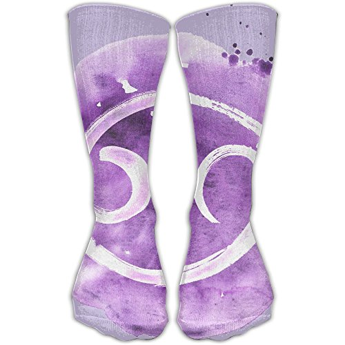 WEEDKEYCAT Purple Cancer Symbol Circle Knee High Socks For Mens Womens Adult Cotton Cute Long Socks For Yoga Hiking Cycling Running Soccer Sports by WEEDKEYCAT