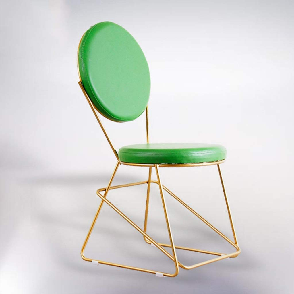 Green 45cm seat height Barstools - Counter Bar Chair Modern Simple Iron Art Metal Stool Personality Leather Seat Cozy Armchair Cafe Restaurant Household 0424A (color   Green, Size   75cm seat Height)