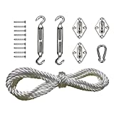 SODIAL SunShade Complete Hardware Kit (Includes 3 x Pad Eyes,2x Turnbuckles,1 x Snap Hooks,12 x Screw And 5m 8mm Nylon Rope) For Stainless Steel Steel Sun Shade Sail Fixing Accessories