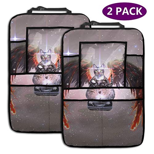 Angel Cats Car Backseat Organizer – Kick Mat – Car Back Seat Organizer for Kids – IPad Tablet Holder – Car Toy Storage for Baby – Seat Protector for Infant – Behind The Seat Cover