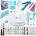 Cake Decorating Supplies Kit - Baking and Piping Set | 107 Pieces | Leveler, Rotating Turntable Stand, Frosting Bags and Tips, Fondant Cutters, Decoration Tools, Angled Icing Spatula, Starter Guide