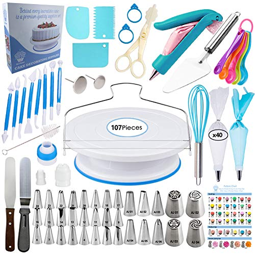 Cake Decorating Supplies Kit - Baking and Piping Set | 107 Pieces | Leveler, Rotating Turntable Stand, Frosting Bags and Tips, Fondant Cutters, Decoration Tools, Angled Icing Spatula, Starter Guide]()
