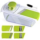 Adjustable Mandoline Food Slicer - 4 Blades - Vegetable Cutter, Cheese Grater, Julienne Vegetable Slicer & Fine Grater - Compact, Veggie Slicer Kitchen Gadget Slicer Dicer, Dishwasher Safe