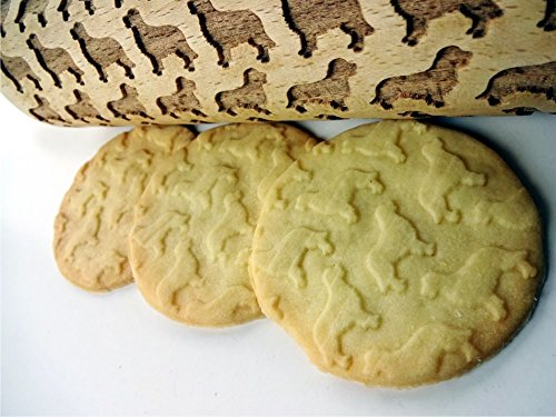 Rolling pin GOLDEN RETRIEVER pattern. Wooden embossing rolling pin with GOLDEN RETRIEVER pattern. Embossed cookies. Pottery. Birthday gift. Gift for mother