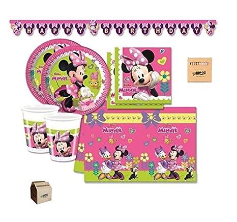 Irpot Kit Coordinato Compleanno Bambina Minnie Disney 90 Pz Con