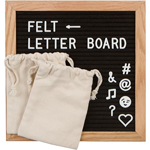 Black Felt Letter Board 10x10 Inch Wooden Oak Frame - 680 White Letters and Symbols - Wall Mount - Message Board Sign - 2 Storage Bags