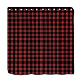 "YYT Personalized Shower Curtains Rustic Red Black Buffalo Check Plaid Pattern Shower Curtain 72""X72"""